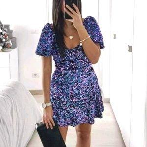ZARA MultIcolor Sequin Mini Dress Size M